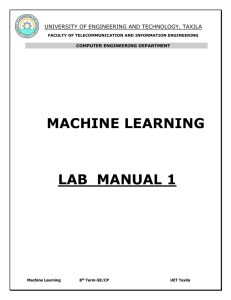 machine learning - University of Engineering and Technology, Taxila