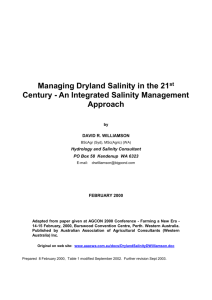 An Integrated Salinity Management Approach
