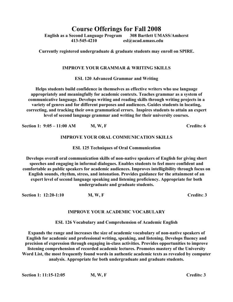 ESL 120 Advanced Grammar and Writing