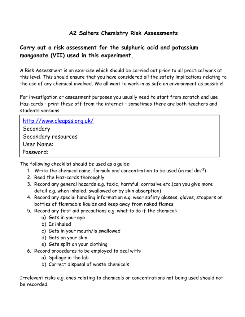 salters chemistry coursework risk assessment