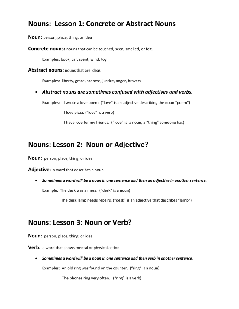 Nouns Lesson 1 Concrete Or Abstract Nouns