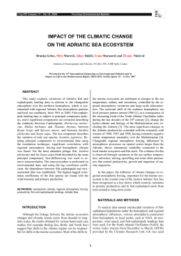 impact of the climatic change on the adriatic sea ecosystem