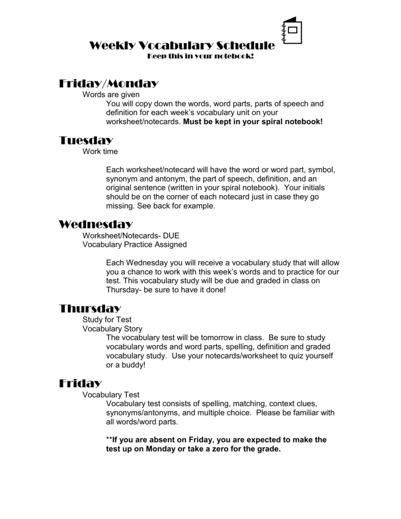 Weekly Vocabulary Schedule