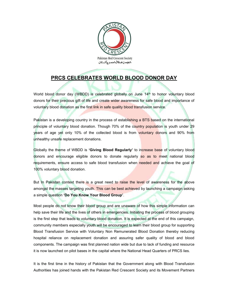 World blood donor day is celebrated globally on June 14th to