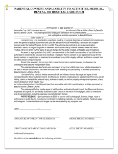 Consent and Liability Form - Beautiful Savior Lutheran Church