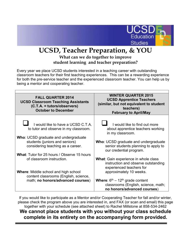 UCSD, Teacher Preparation, & YOU