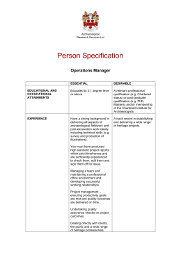 Archaeological Research Services Ltd Person Specification