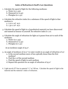 Refraction Worksheet 2