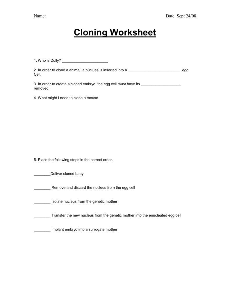 Cloning Worksheet