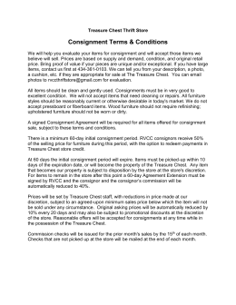 Treasure Chest Thrift Store Consignment Terms & Conditions We