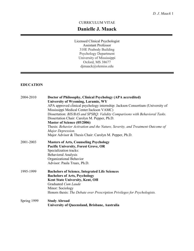 curriculum vitae - Department of Psychology