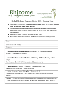 Herbal Medicine Courses – Winter 2013 – Booking Form • Please