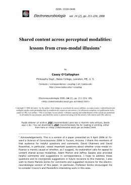 O`Callaghan - Shared content across perceptual modalities:lessons