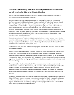 Fact Sheet: Understanding Promotion of Healthy Behavior and