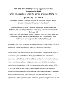 GRIM-19 interacts with HtrA2: To identify the cellular