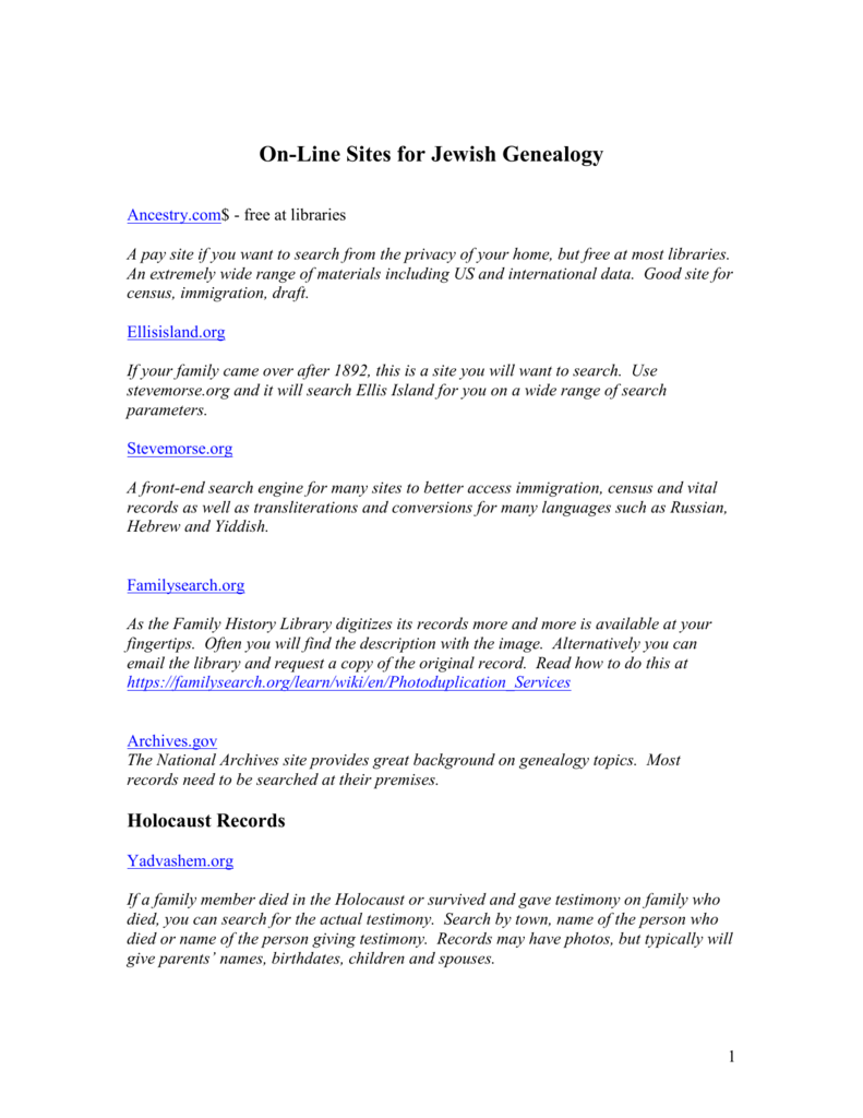On-Line Sites for Jewish Genealogy
