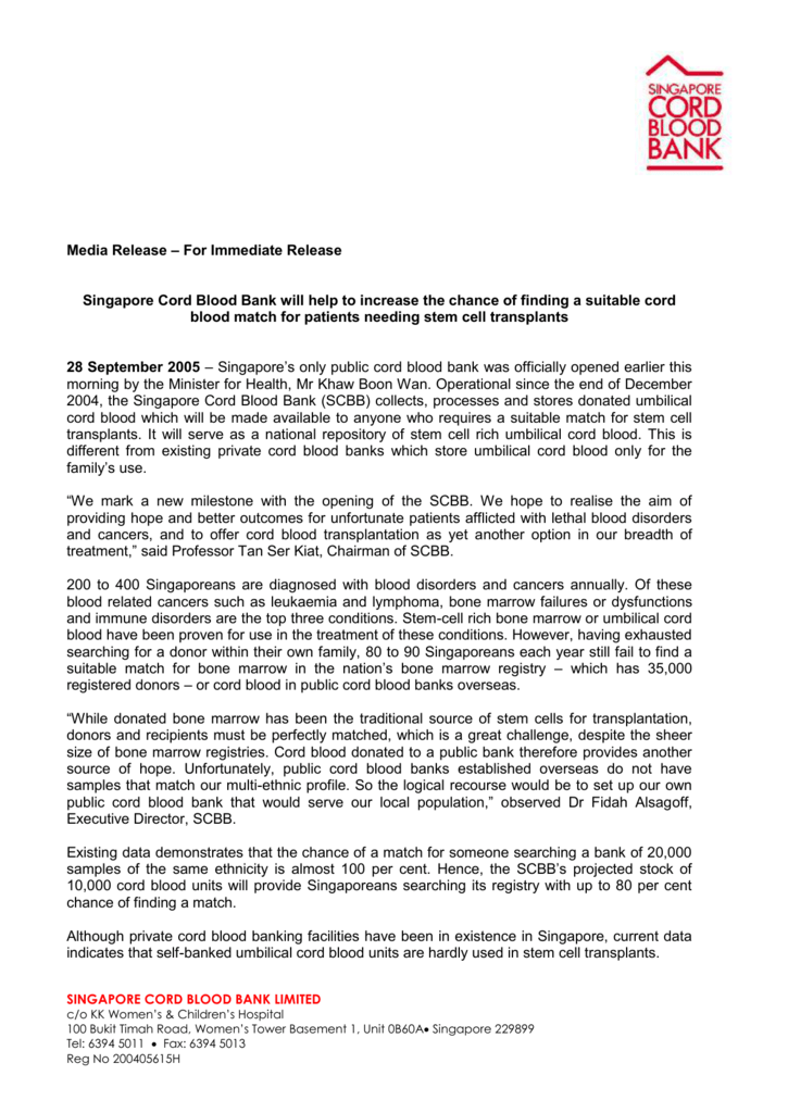 Media Release – For Immediate Release Singapore Cord Blood
