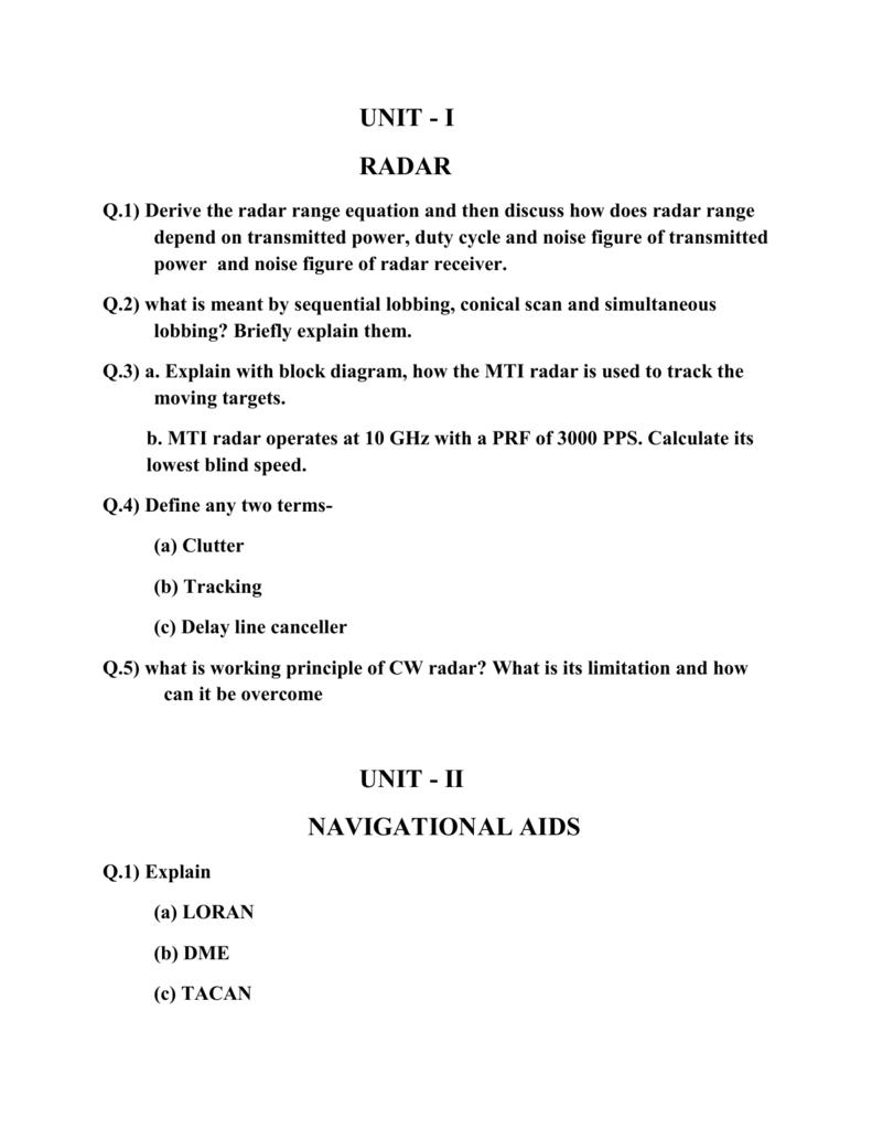 UNIT - I RADAR Q 1) Derive the radar range equation and then