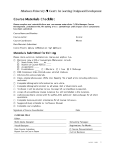 Course Materials Checklist - Centre for Learning Design and