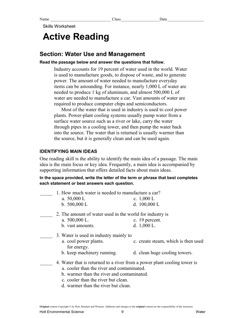 Active Reading: Water Use and Management