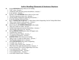 Active Reading Elements & Sentence Starters