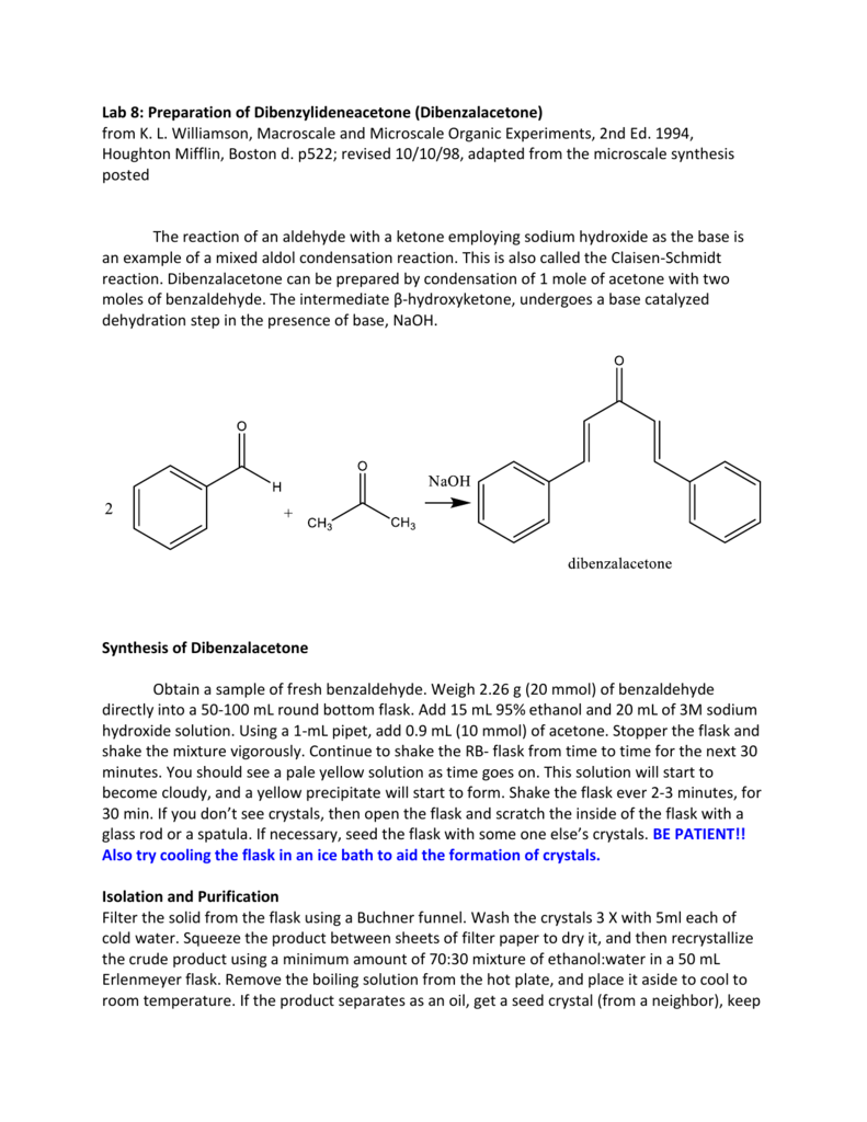 synthesis of dibenzalacetone lab report