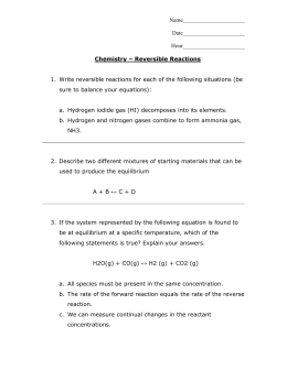 Chem Equil Reversible Reaction