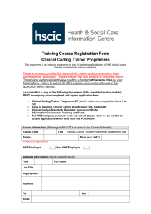 Clinical Coding Trainer Programme booking form - Systems
