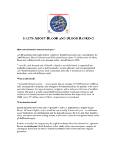 Facts about Blood and Blood Banking