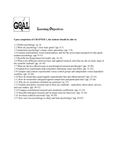 Learning Objectives Upon completion of CHAPTER 1, the student