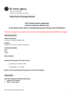 GPO Training Program Application