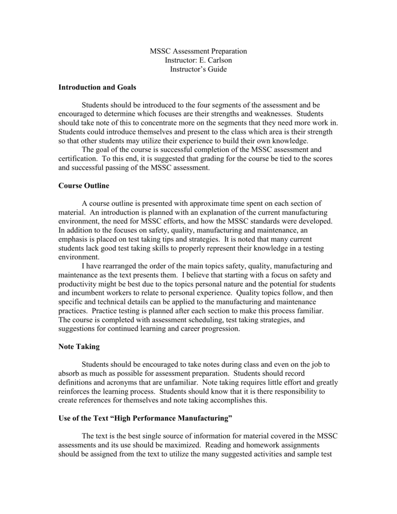 Mssc Assessment Prep Instructors Guide