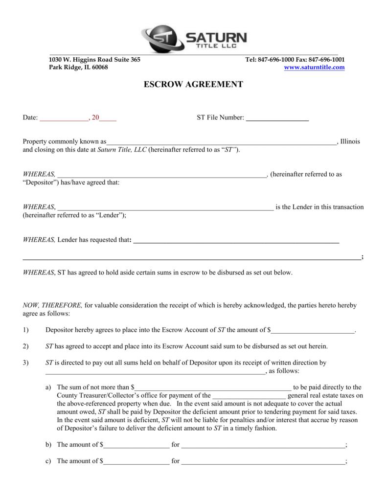 Escrow Agreement Saturn Title Llc