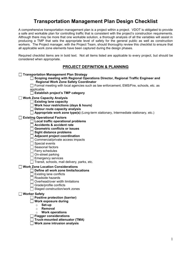 Transportation Management Plan Design Checklist