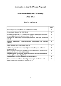 Summaries of individual projects receiving funding