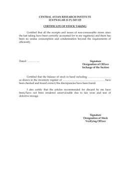 Certificate of Stock Taking