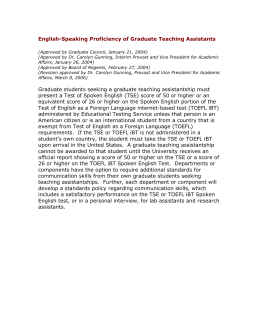 English-Speaking Proficiency of Graduate Teaching Assistants