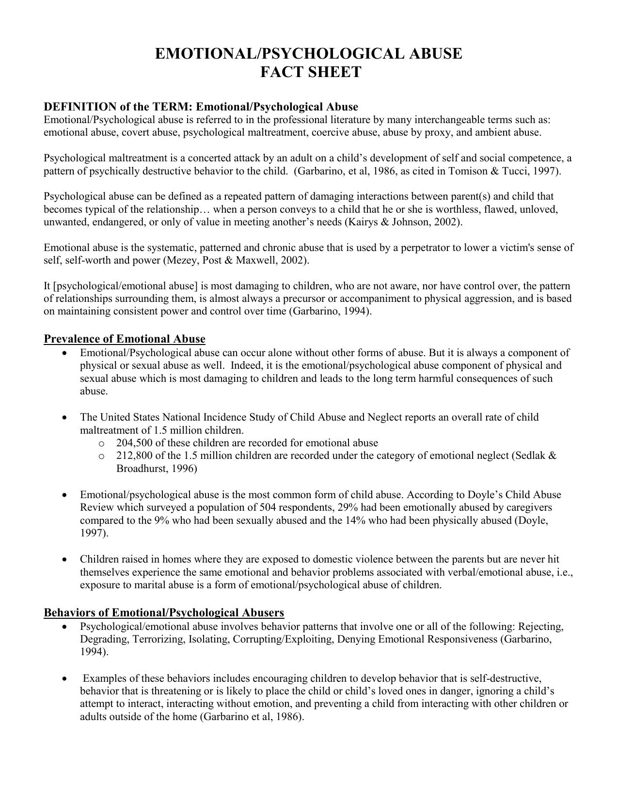 Emotional Abuse Fact Sheet