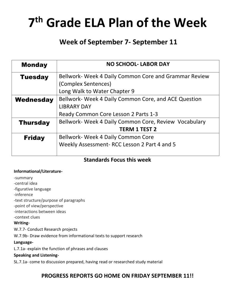 7th Grade ELA Plan of the Week Week of September 7