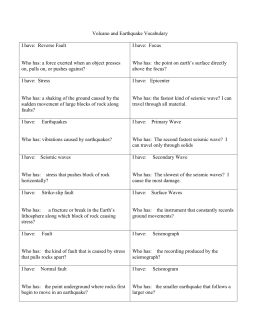 Volcano And Earthquake Vocabulary