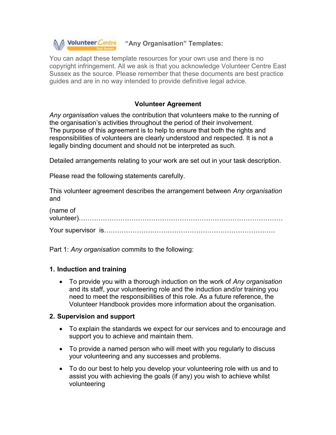Volunteer Good Practice Agreement