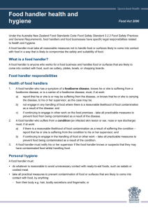 Food handler health and hygiene