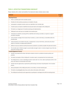 TOOL 5: EFFECTIVE TRANSITIONS CHECKLIST