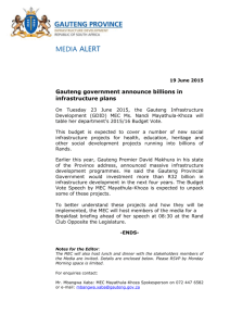 Media Alert 19 June 2015 - Department Of Infrastructure Development