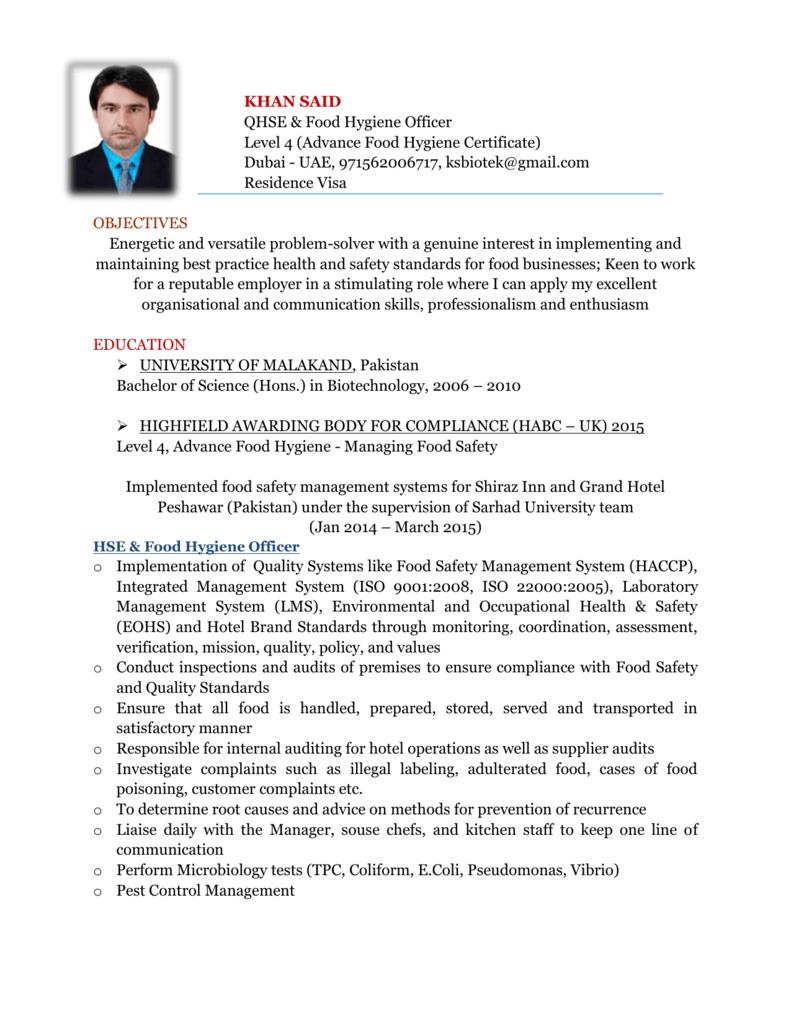QHSE & Food Hygiene Officer - CV