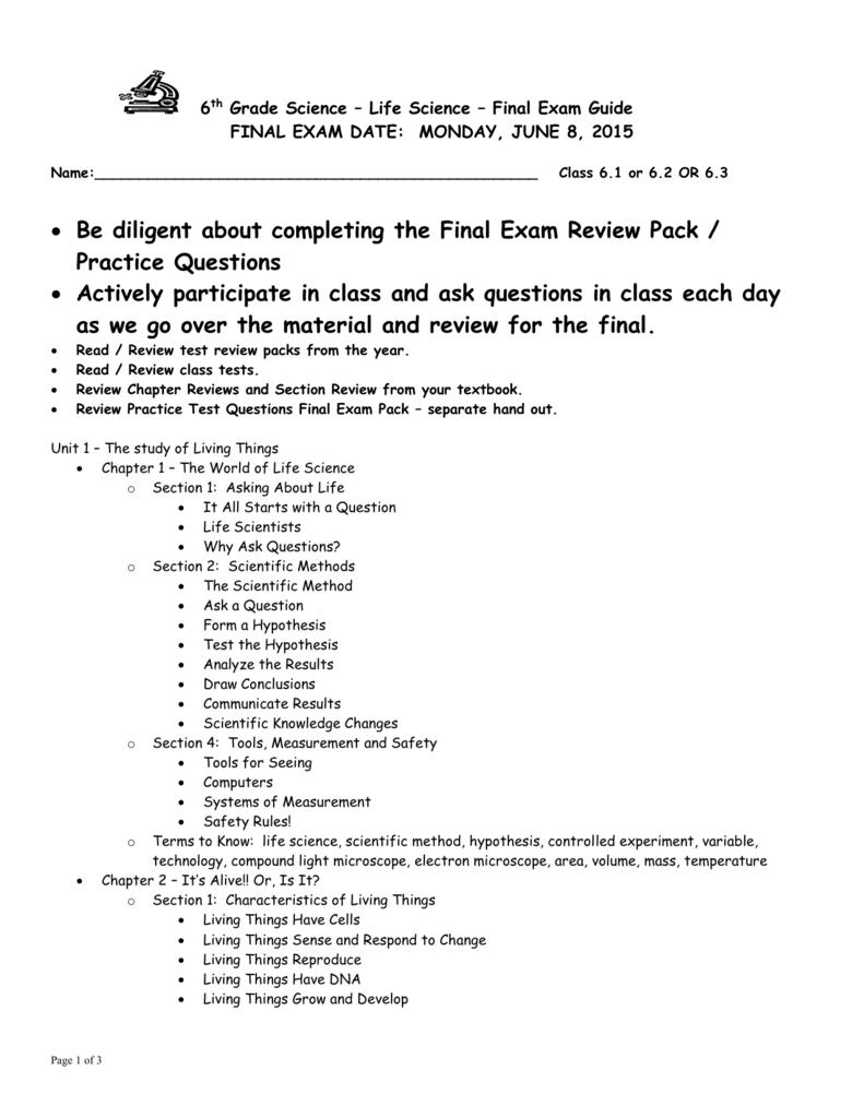final exam outline science 6