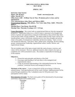 ORGANIZATIONAL BEHAVIOR CV (DRAFT)