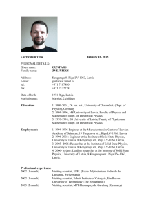 Curriculum Vitae - Institute of Solid State Physics (ISSP), Riga, Latvia