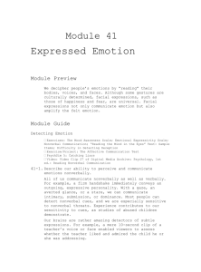 Module 41 Expressed Emotion Module Preview We decipher