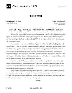 So-Cal Fires Force Key Transmission Line Out of